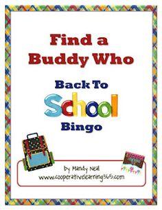 Classroom Freebies: Find A Buddy Who-Back to School Bingo