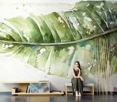Floral Wall Murals, Fresh Green Tropical,Exotic flowers Wall Decor Printed Photo , Big Flowers Wall Art Wall poster Living Room - Best Picture For kitchen ideas diy For Your Taste You are looking for something, and it is going - Art Mural, Mural Painting, Art Art, Modern Floral Wallpaper, Wallpaper Art, Floral Wallpapers, Vintage Wallpapers, Wallpaper Designs, Deco Nature