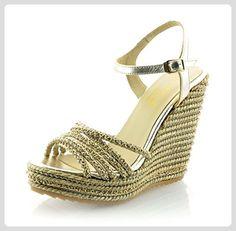 MTBALI - Sandalen mit Keilabsatz Alpargata Damen - Modell Bracelet - 38, Gold - Espadrilles für frauen (*Partner-Link)