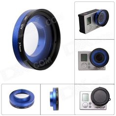 Color: Black + Blue; Lens Diameter: 37mm; Brand: Fat Cat; Model: A-MC5; Material: Glass + Aluminum Alloy; Quantity: 1 Set; Compatible Brand: Gopro; Compatible Models: Hero3+/Hero3; Anti-Shake: No; Viewing Angle: 135~170 °; Other Features: 37mm FPV Protective MCUV Lens for Gopro Hero3+/Hero3; Packing List: 1 x MCUV protective lens 1 x Lens Cap; http://j.mp/1tphzaW