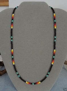 Turquoise, Blk Beaded Necklace Mens,Wom Native American