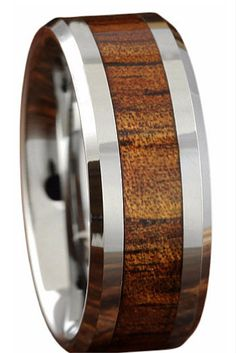 This Woule Make Such a Great Wedding Ring for a Destination Wedding 8mm Koa Wood Ring With Polished Beveled Edges