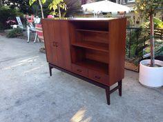 Mid century modern Danish teak cabinet console for home bar or media