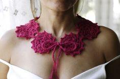 Crochet Collar Hot Pink Collar