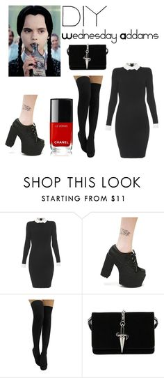 """Untitled #50"" by mahoganymacpic ❤ liked on Polyvore featuring Paule Ka, Current Mood, Cesare Paciotti, halloweencostume and DIYHalloween"