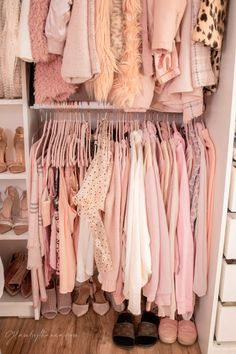 Pink Walk in Closet & Beauty Room Reveal Cube Storage Shelves, Cute Room Ideas, Pink Sofa, Glam Room, Gold Pillows, Dream Closets, Walk In Closet, Beauty Room, New Room