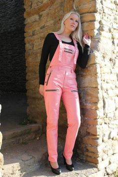 Pink leather overalls and black heels Leather Overalls, Leather Jumpsuit, Black Overalls, Leather Leggings, Curvy Women Fashion, Womens Fashion, Leather Catsuit, Latex, Fashion Pants