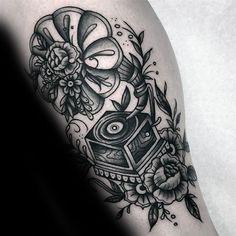 Mens Record Player Traditional Shaded Leg Tattoos
