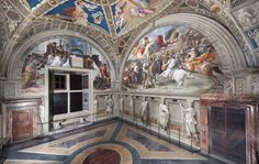 The Room of Heliodorus, Raphael. The Room was used for the private audiences of the Pope and was decorated by Raphael immediately after the Segnatura. Restoration of the Raphael rooms took 30 years. Rome Painting, Mural Painting, Fresco, School Of Athens, Le Vatican, Circular Buildings, Chief Architect, Sistine Chapel, Renaissance Paintings