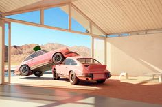 A playful series of images featuring the beautiful Porsche 911 Carrera RS from 1973. The picturesque setting is inspired by palm spring and the distinctive mid century modern style architecture.