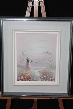 PHILIP SANDEE Oil On Canvas Signed Girl Holding Flowers Seagulls Pretty Sunset