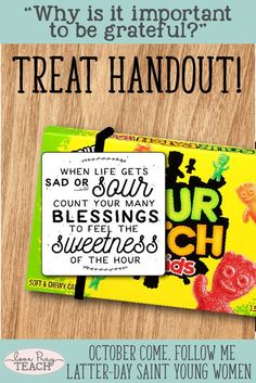 """Latter-day Saint October Young Women Lesson: """"Why is it important to be grateful?"""" printable lesson packet including treat handout and much more! Young Women Handouts, Young Women Lessons, Young Women Activities, Lds, Yw Handouts, Visiting Teaching Handouts, Girls Camp Handouts, Teaching Ideas, Pillow Treats"""