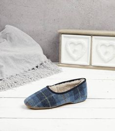 Morag Women's Slippers Made with a genuine Harris Tweed upper, shearling lining and flexible, lightweight suede sole. Handmade in England since Shop Now: Ladies Sheepskin Slippers, Shearling Slippers, Womens Slippers, Harris Tweed, Toms, Shop Now, England, Slip On, Lady