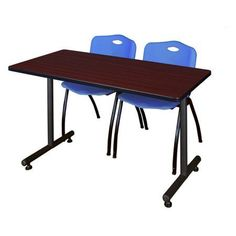 Kobe 42 inch x 24 inch Mahogany Mobile Training Table and 2 'M' Stack Chairs, Multiple Colors, Black
