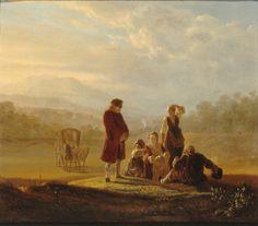 HUBER-VOLTAIRE (Jean HUBER, dit) Voltaire et les paysans de Ferney, 1786* ~ oil on wood panel