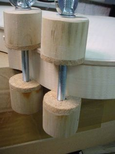 Rib Clamps by Christophe Mineau -- The luthier needs some special clamps, plenty of special clamps, of different kinds. Here is a batch of rib clamps for stringed instruments, used for clamping the plates on the sides when gluing. The clamping faces are padded with thick cork. Notice that when you are using hot hide glue, the open time is very short, and you need to be fast. To accelerate the process, I have designed this little PVC adapter you can see on the cordless drill, to tighten…