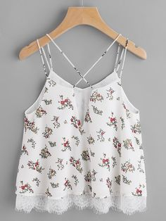 Online shopping for Lace Trim Double Strap Crisscross Floral Cami Top from a great selection of women's fashion clothing & more at MakeMeChic. Lace Top Outfits, Casual Skirt Outfits, Vest Outfits, Cute Outfits, Cute Summer Outfits, Cami Tops, Girl Fashion, Fashion Outfits, Trendy Tops