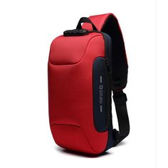 Sling Bag Shoulder Crossbody Backpack Waterproof Sling Backpack with USB Charging Port Anti Theft Chest Pack Bag Casual Daypack Fit Inch Ipad (Red) Handbags For Men, Luxury Handbags, Cheap Handbags, Handbags Online, Anti Theft Backpack, Summer Bags, Casual Bags, Zipper Bags, School Bags