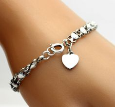 Puffed Heart Filigree Link Bracelet with Mini Heart Tag in Sterling Silver #Chain