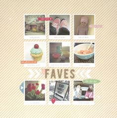 My Faves Scrapbook Layout using FREE shape of the week 4/30