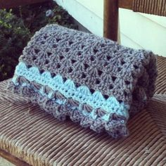 Charcoal and Sky Blue Shell Stitch Crochet Baby Blanket with scalloped edging, for Lap/Stroller/Carseat.. $30.00, via Etsy.