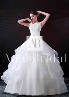 Glamorous Organza Bateau Neckline Ball Gown Wedding Dress With Beaded Lace Appliques