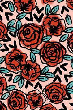 Colorful fabrics digitally printed by Spoonflower - roses // red vintage style illustration florals flower pattern - Hand illustrated red roses on a pink background by Andrea Lauren. Available in fabric, wallpaper, a - Wallpapers Geek, Wallpaper Backgrounds, Iphone Wallpaper, Galaxy Wallpaper, Hand Illustration, Landscape Illustration, Motif Floral, Floral Prints, Lino Prints