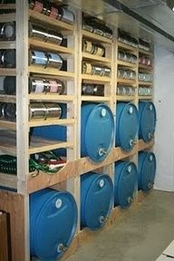How to build a water and food storage shelf. I LOVE THIS IDEA