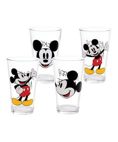 Look what I found on #zulily! Mickey Mouse Glass - Set of Four #zulilyfinds