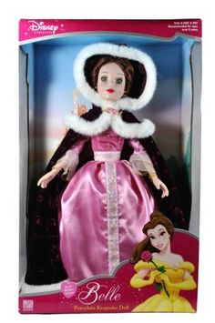 Brass Key Keepsakes Year 2003 Disney Princess Beauty and the Beast Collectible 16 Inch Porcelain Doll - Royal Holiday Edition BELLE with Pink Dress, Hooded Cape with Faux Fur Trim and Earrings by Disney Princess: Amazon.de: Spielzeug
