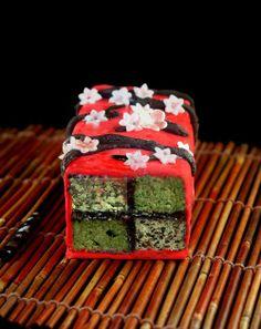 Japanese Inspired Battenberg Cake (matcha and black sesame) with Cashew Marzipan