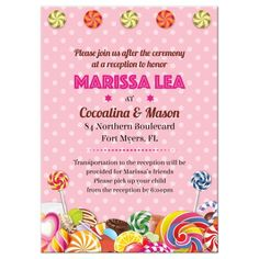 Candy buffet or Candyland Bat Mitzvah reception insert card. Lollipops and polka dots.