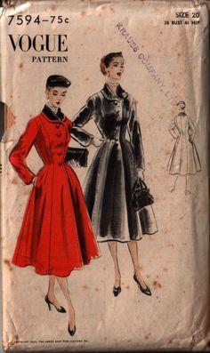Vogue 7594 coat vintage sewing pattern
