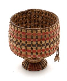 Africa | Woven basketry vessel from Somalia | Vegetable fiber, shells and metal | 1st half of the 20th century