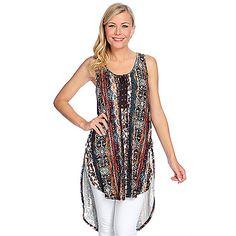 69319880bd1 Indigo Thread Co.™ Printed Knit Sleeveless Shirttail Hem Lace-up Tank Top