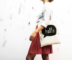 hand screenprinted cotton shopping bag hand screen printed cotton bag HELLO on Etsy, $15.50