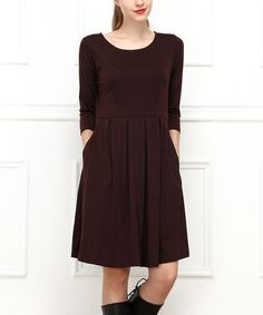 Look what I found on #zulily! Brown Pleated Dress #zulilyfinds