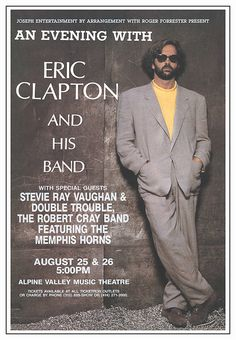 ERIC CLAPTON  SPECIAL GUEST JIMMIE VAUGHAN CONCERT POSTER GARY GRIMSHAW SIGNED