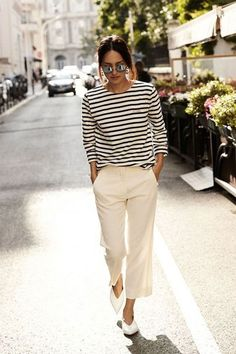 40 Balanced Casual Work Outfits For Women - Balanced-Casual-Work-Outfits-For-Women, Striped Shirt, Casual Look Women, Casual Outfit - Summer Work Outfits, Casual Work Outfits, Modern Outfits, Casual Look, Outfit Summer, Classy Outfits, Chic Outfits, Outfits 2016, Smart Casual