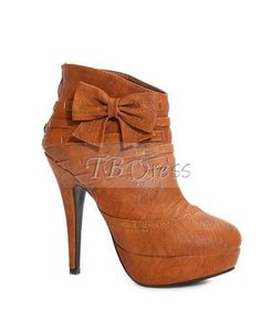 Noble Brown Sweet Bow Knot High Heel Platform Ankle Boots