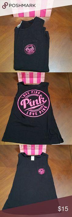 PINK Victoria's Secret Black LOVE PINK tank Xs PINK Victoria's Secret Black LOVE PINK tank. Loose fit size XS. PINK Victoria's Secret Tops Tank Tops