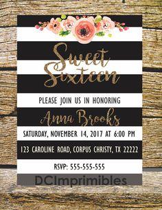 Invitación XV años, Dulces 16, Sweet 16,imprimible. de DCImprimibles en Etsy
