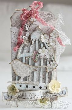 Cards by Camilla: DT Maja Design - A tag with a birdcage ♥