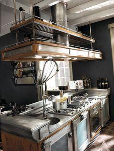 Cucina componibile in acciaio inox e legno con isola BAR