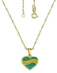 Gargantilha folheada a ouro com pingente em forma de coração com as cores verde a amarelo Código: G0456 http://www.imagemfolheados.com.br/?a=11805 FAÇA SEU CADASTRO E MONTE SEU MOSTRUÁRIO E GANHE UM ÓTIMO EXTRA