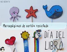 #Marcapáginas de #cartón #reciclado. #Manualidades para el #día del #libro. Nica Bernita #manualidades #diy #fácil #niños #cartón #reciclaje #ideas #barato #punto de #libro #separador #marcador #corazón #unicornio #sol #nube #pulpo #estrella de #mar #ballena #kawaii #bonito #infantil #niños