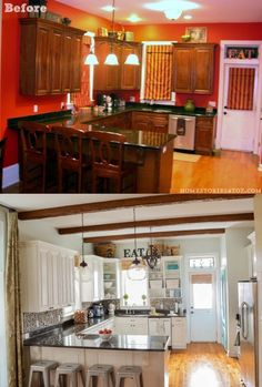 kitchen before and after. I really like the beam across the ceiling