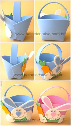 Ideas for Easter baskets and souvenirs Easter Crafts For Kids, Easter Gift, Easter Bunny, Diy For Kids, Easter Eggs, Foam Crafts, Easy Crafts, Diy And Crafts, Diy Ostern
