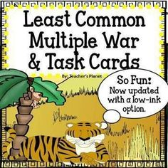 Now updated with a low-ink option.In Least Common Multiple War, students learn to understand how to find the Least Common Multiple of two numbers. Students flip over their cards at the same time and figure out the Least Common Multiple of their Math 5, Math Tutor, 5th Grade Math, Math Skills, Fun Math, Math Games, Math Lessons, Fourth Grade, Least Common Multiple