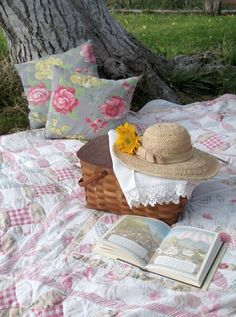 Oh my, if only we could spend our days curled up on a lovely quilt with a good book in the shade!!!